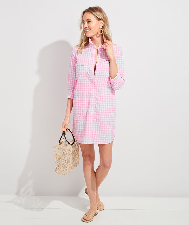Palm Beach Gingham Harbor Shirt Cover-Up