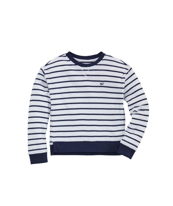 Girls Break Stripe Hi-Lo Crewneck Pullover