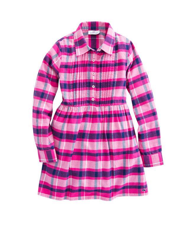 Girls Plaid Flannel Shirt Dress