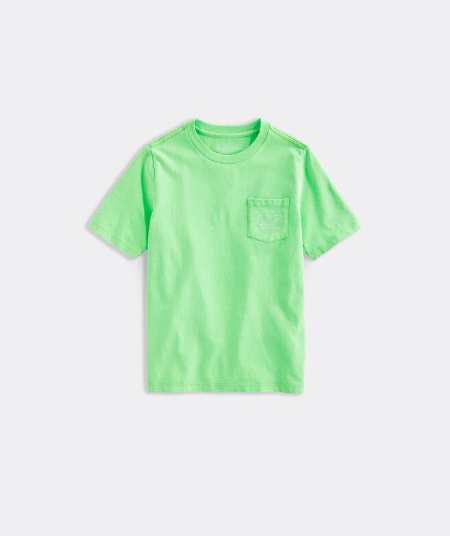 Boys' Short-Sleeve Garment Dyed Neon Vintage Whale Pocket Tee