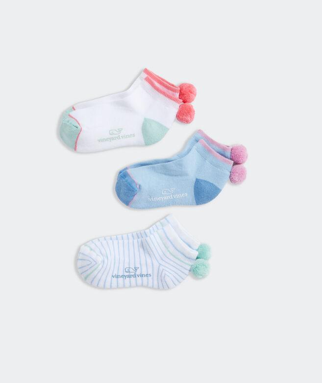 Girls' Pop Stripe Athletic 3-Pack Socks