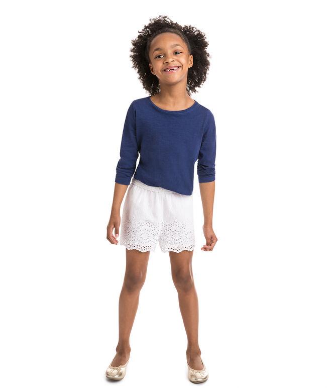 Girls Eyelet Seersucker Pull On Shorts