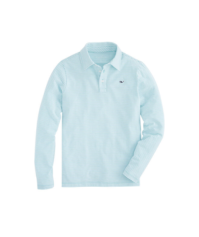 Boys Long-Sleeve Color To White Shep Stripe Edgartown Polo