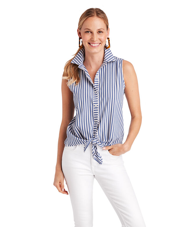 Shore Seersucker Sleeveless Tie Front Button Down