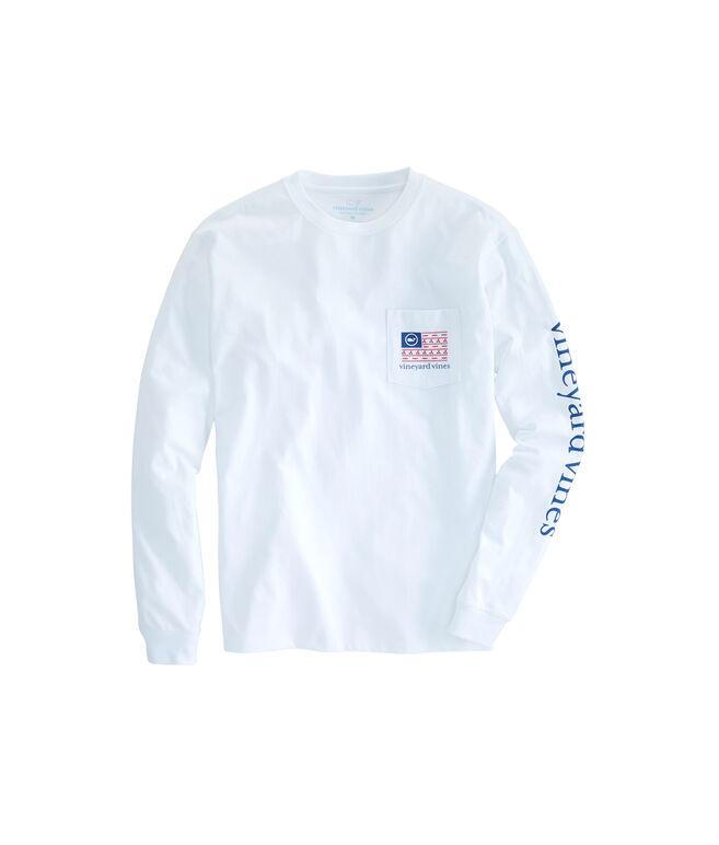 Long-Sleeve Boating Flag Pocket T-Shirt
