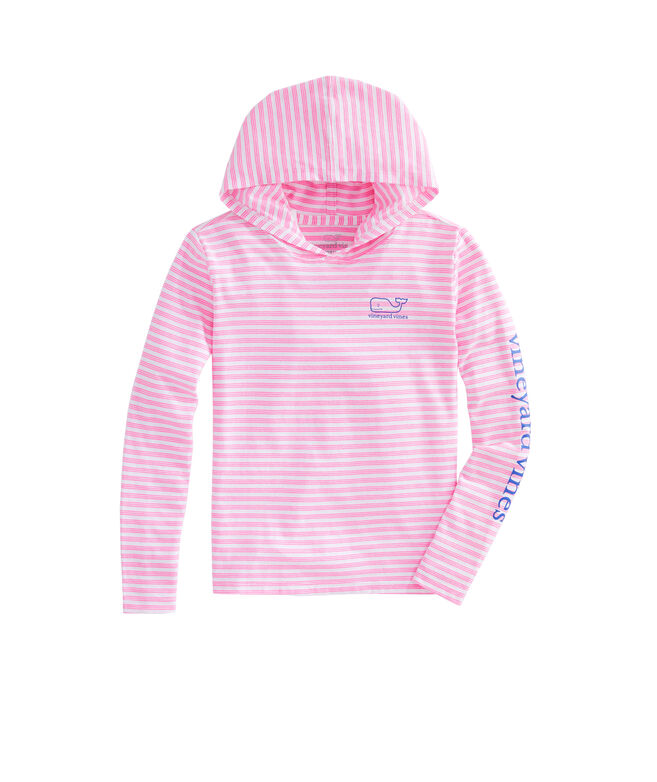 Girls Long-Sleeve Whale Stripe Hoodie Tee