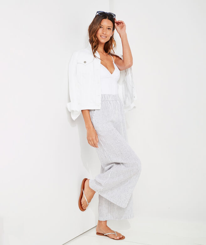 Jet Stripe Wide Leg Linen Pants