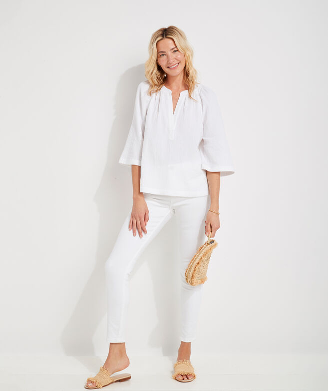Beachy Gauzy Popover Top