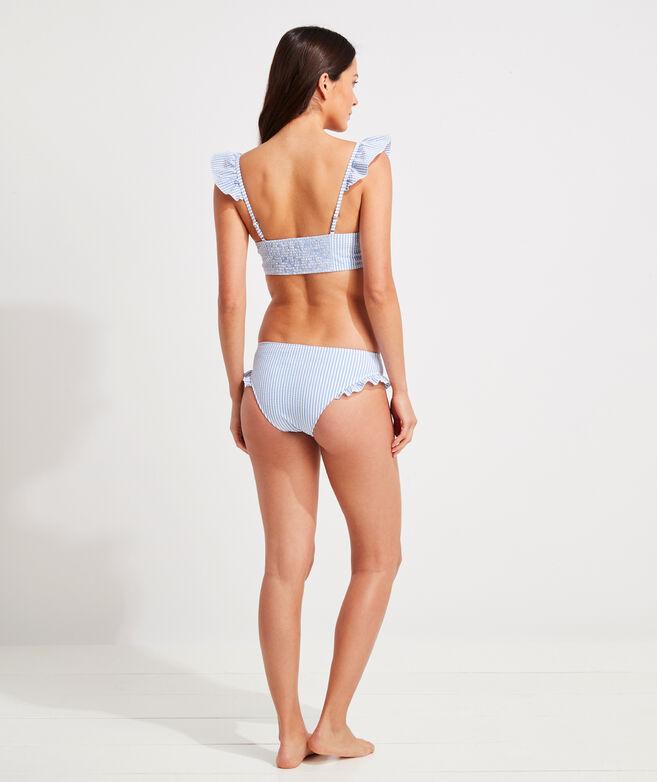 Seersucker Ruffle Bikini Top