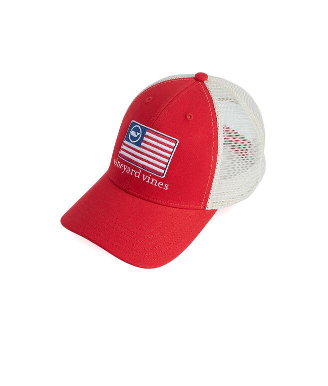 American Flag Whale Line Trucker Hat