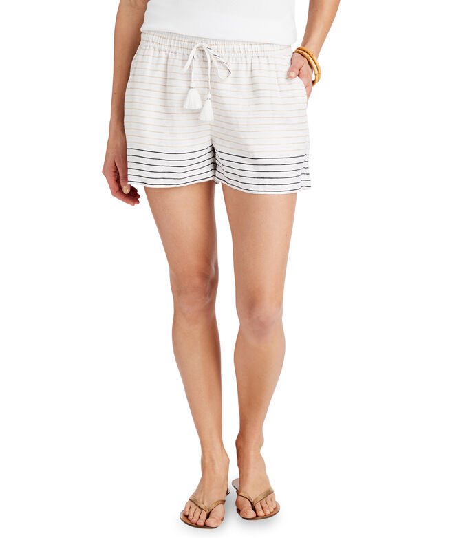 Lurex Stripe Pull-On Linen Shorts