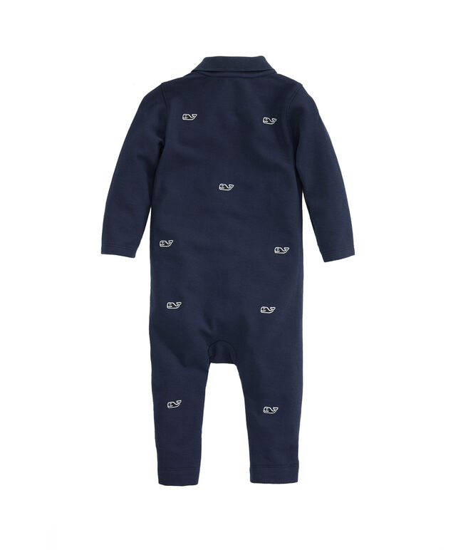 Baby Boy Whale Embroidered Coverall