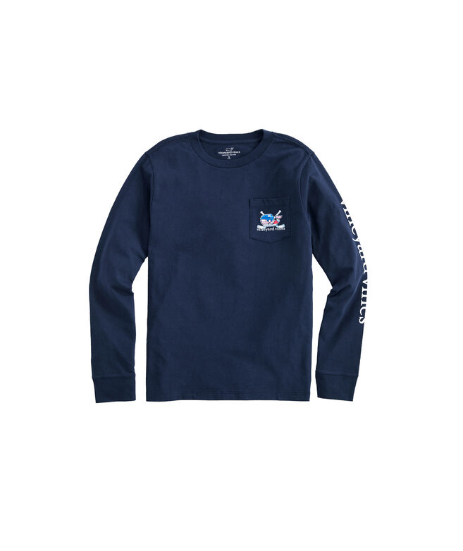 Boys Crossed Hockey Sticks Whale Long-Sleeve Pocket T-Shirt