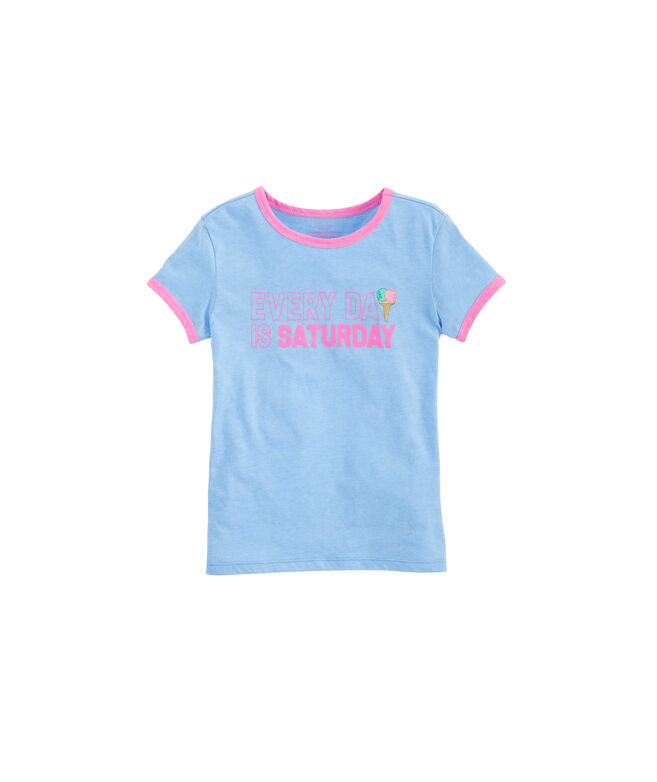 Girls Long-Sleeve Every Day Is Saturday Ringer Tee