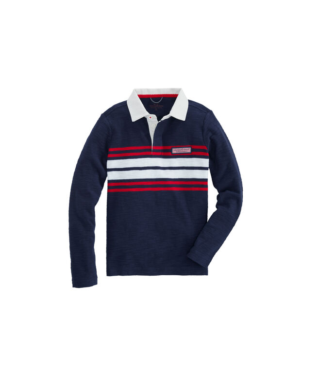 Boys Placed Chest Stripe Rugby Polo