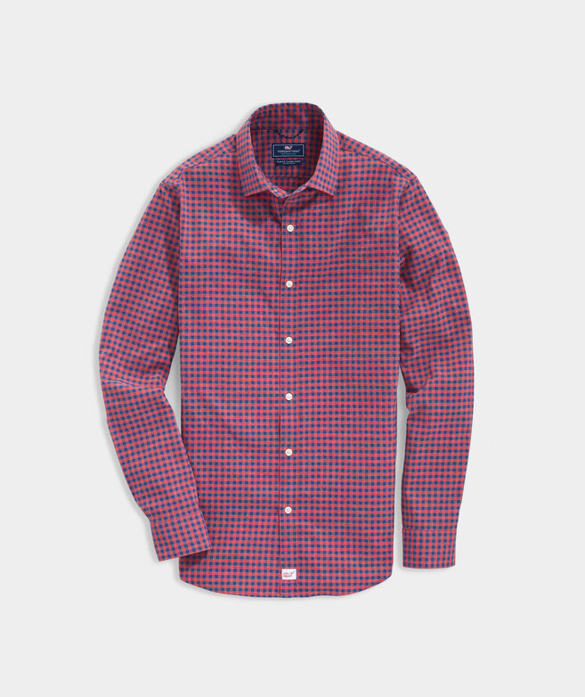 Slim Fit Check On-The-Go Spread Collar Shirt in Performance Nylon