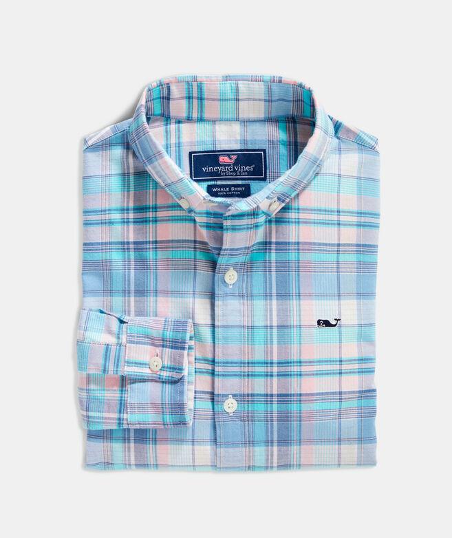 Boys' Tropical Fronds Poplin Whale Button-Down Shirt