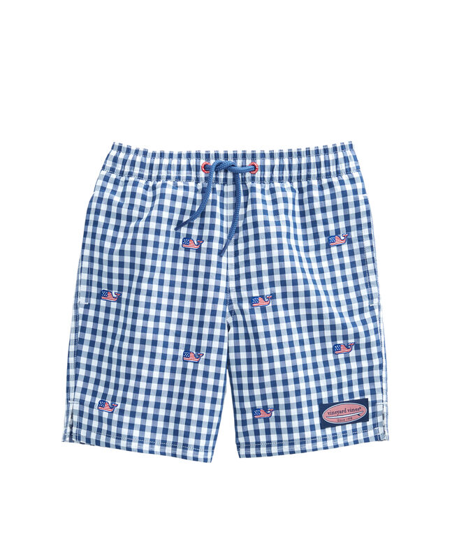 Boys Gingham Flag Whale Chappy Trunks