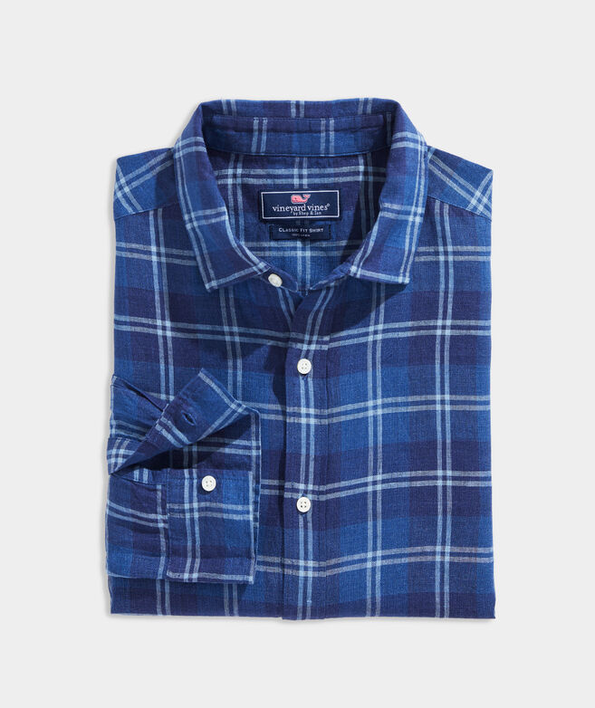 Classic Fit Plaid Spread Collar Shirt in Linen