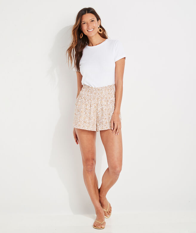 Plumeria Linen Smocked Pull-On Shorts
