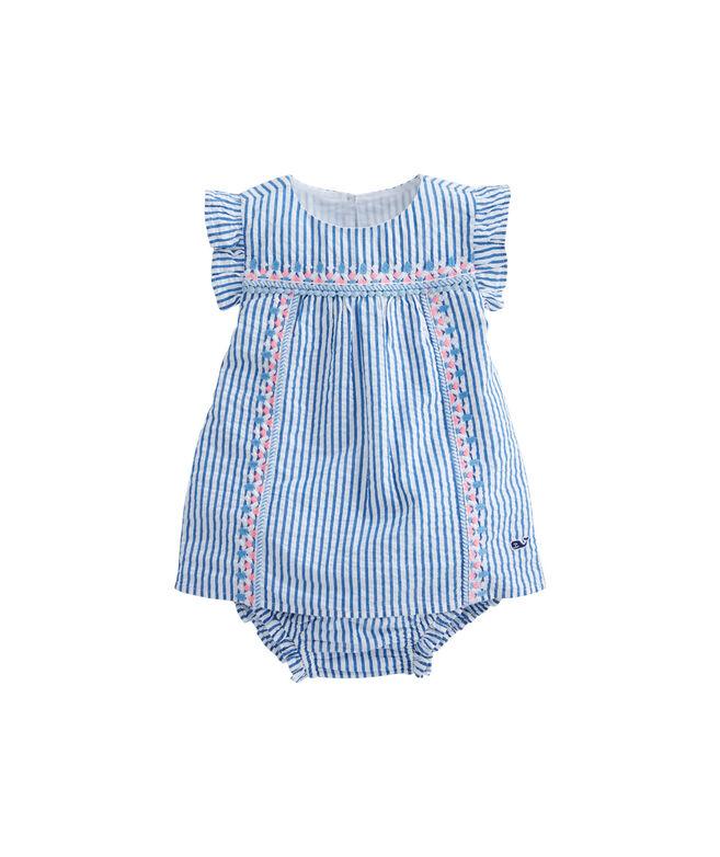 Baby Seersucker Embroidered Shift Dress Set