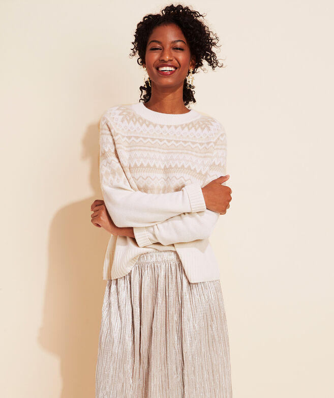 Neutral Fair Isle Cashmere Crewneck Sweater