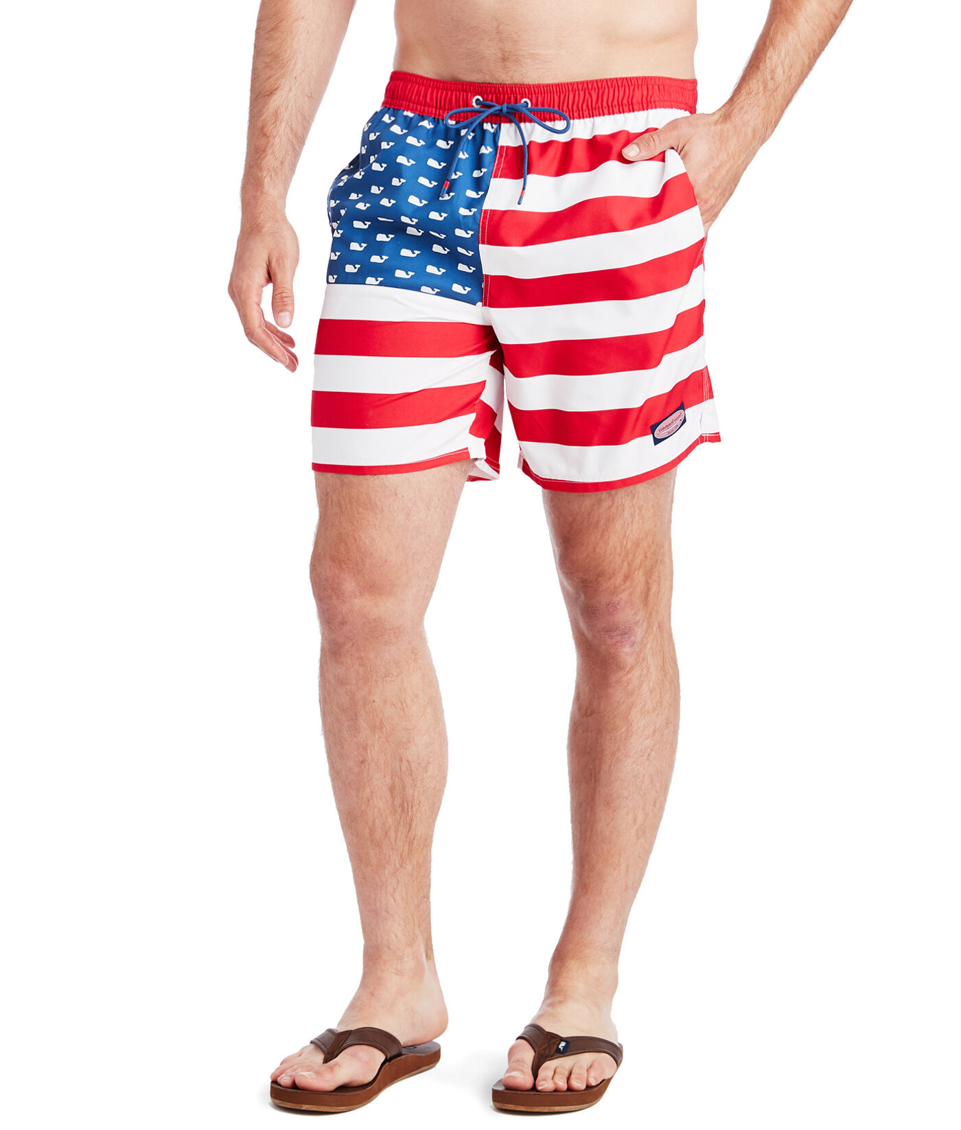 Love Needs Mens Swim Trunks American Flag Blue Red Star Stripe Drawstring Boardshorts