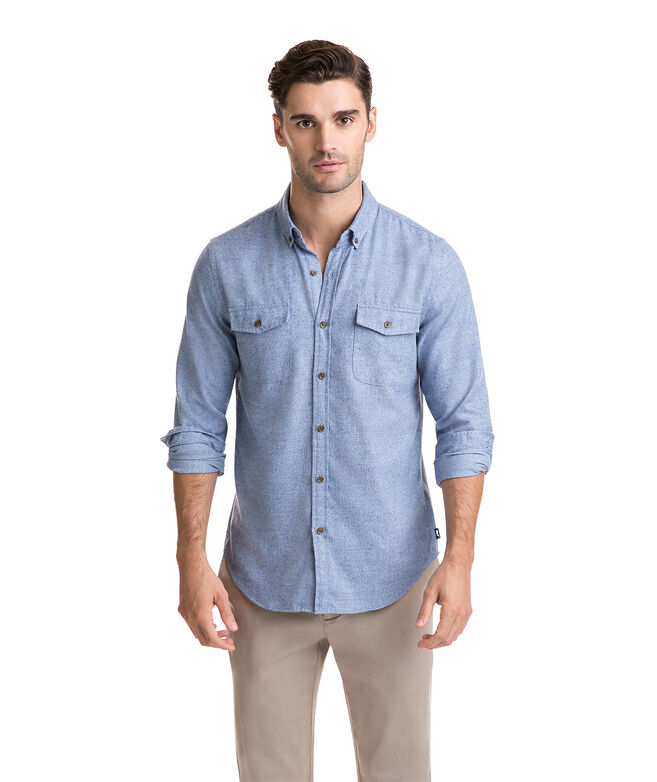 Grindel Solid Two-Pocket Performance Flannel Slim Crosby Shirt