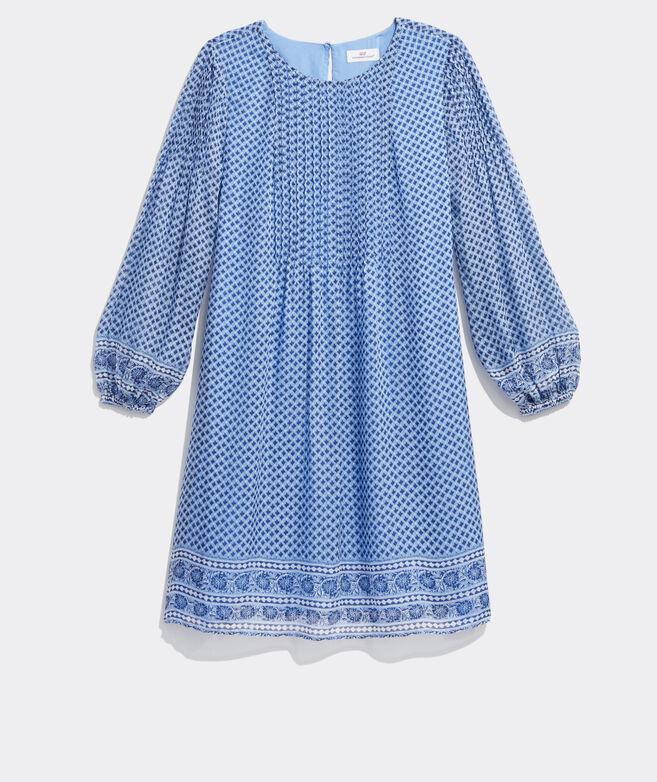 Printed Pintuck Swing Dress