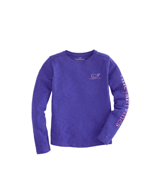 Girls Long-Sleeve Two-Tone Foil Classic Whale Tee