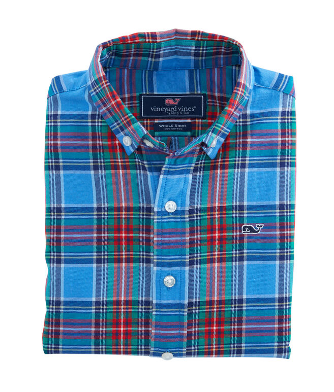 Boys Belmont Plaid Whale Shirt