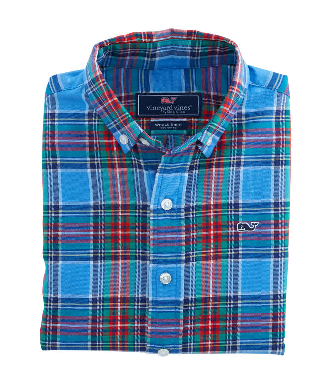 Boys Belmont Plaid Whale Shirt