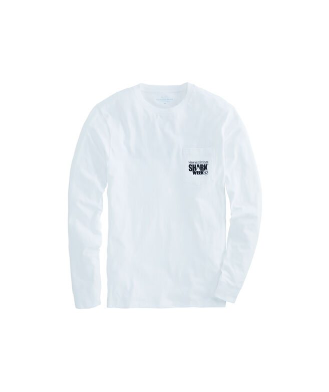 6725469dc Shop Long-Sleeve Shark Week Beach Warning Flag Pocket T-Shirt at ...