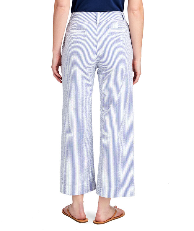Seersucker High Waist Cropped Pants