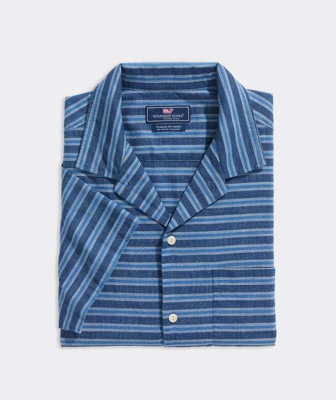 Stretch Cotton Short-Sleeve Striped Shirt
