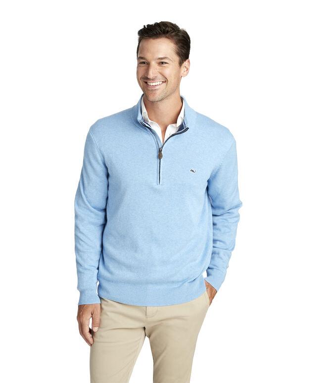 Palm Beach Cotton-Cashmere 1/4-Zip Sweater