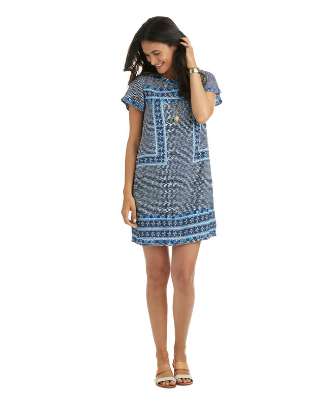 Dot Border Print Shift Dress