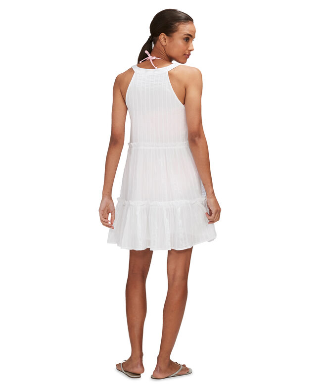 Airy Stripe Tiered Ruffle Cover-Up