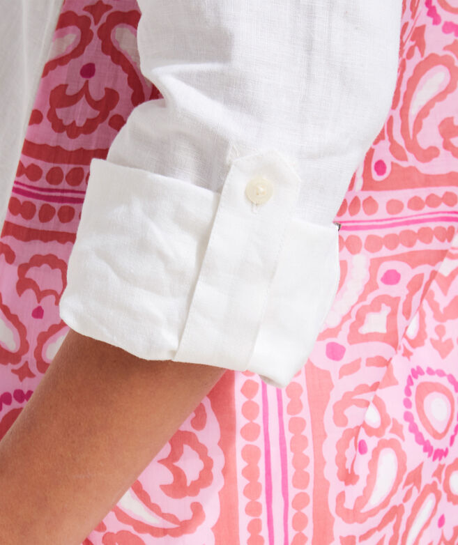 Island Scarf Print Back Button-Down