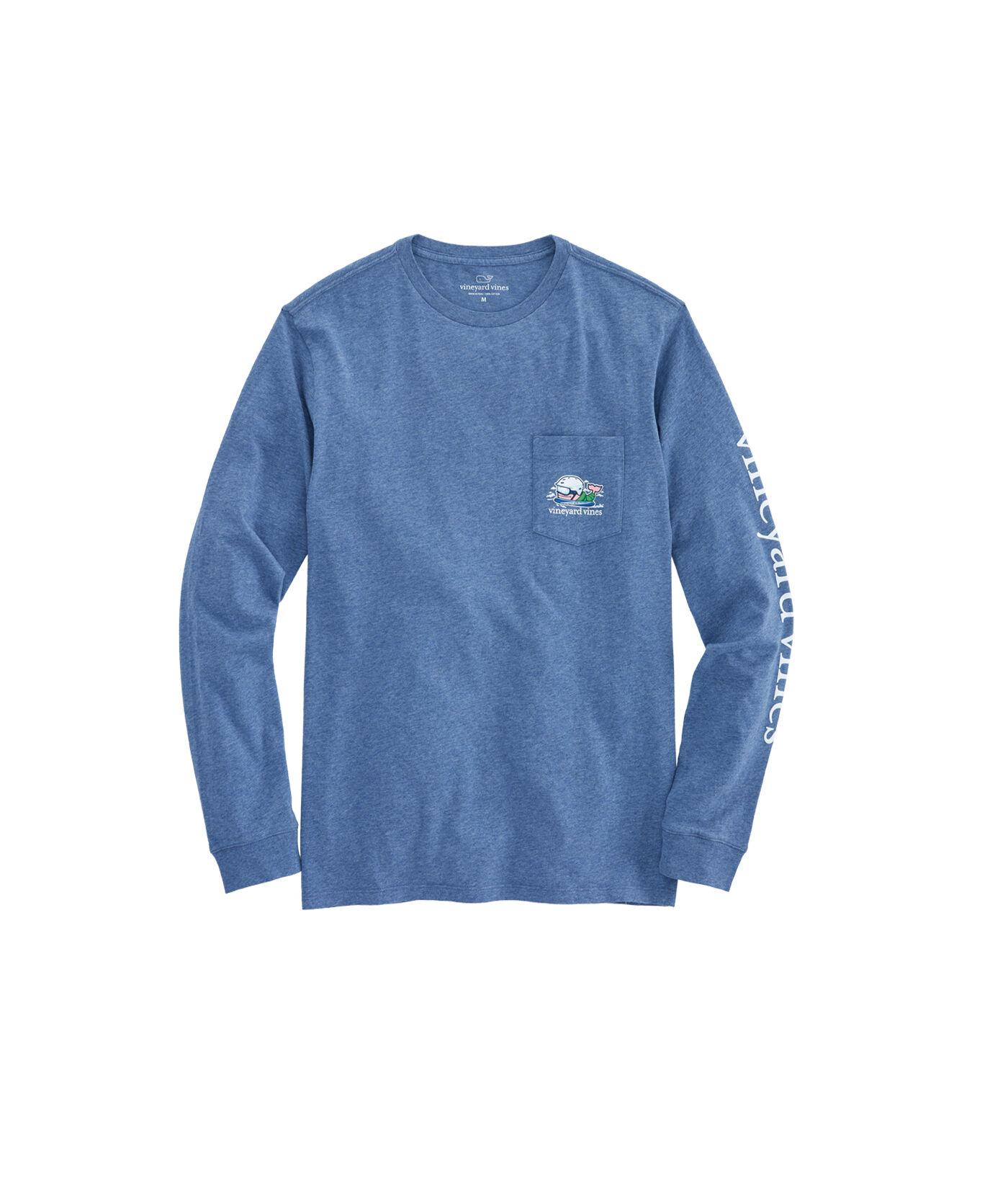 Vineyard Vines Men/'s Skyfall Blue Vintage Whale Graphic Pocket Long Sleeve Shirt