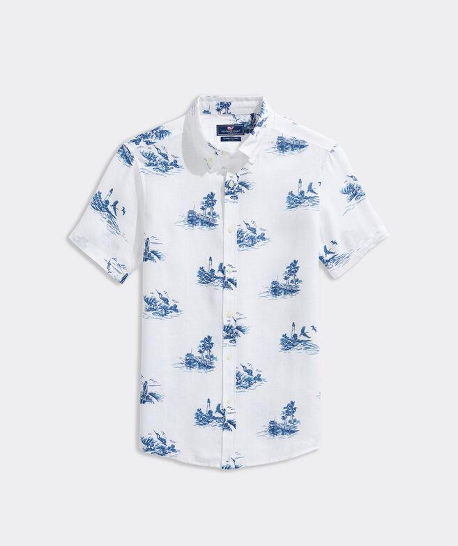 Linen Short-Sleeve Key West Scenic Shirt