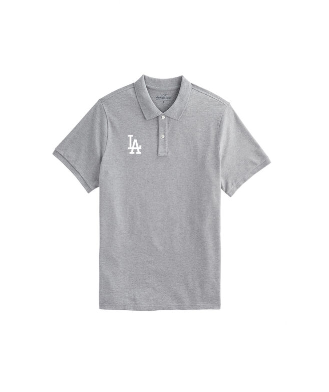 Los Angeles Dodgers Stretch Pique Heathered Polo