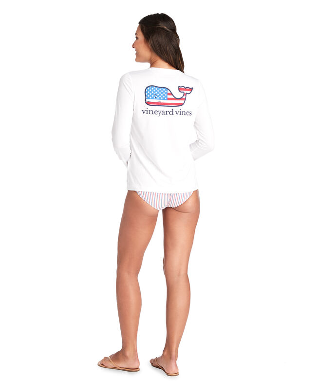 Long-Sleeve USA Whale Swim Shirt