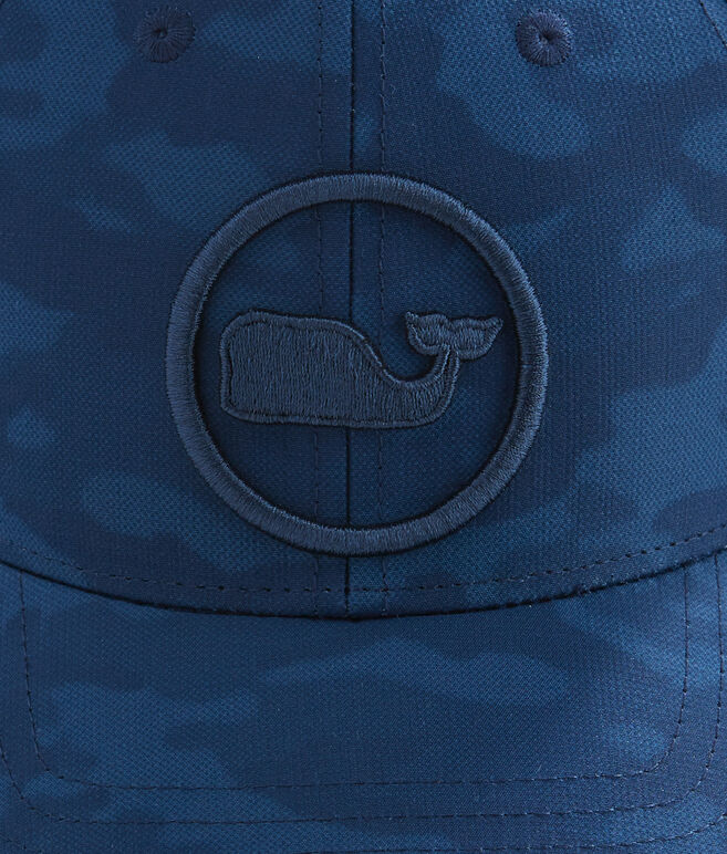 Embroidered Whale Dot Performance Camo Trucker Hat