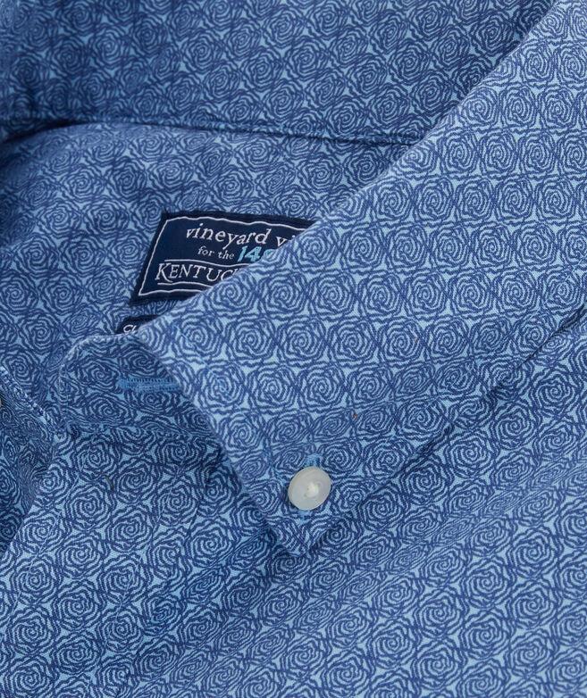 Classic Fit Kentucky Derby Micro Rose Tucker Short-Sleeve Button-Down Shirt