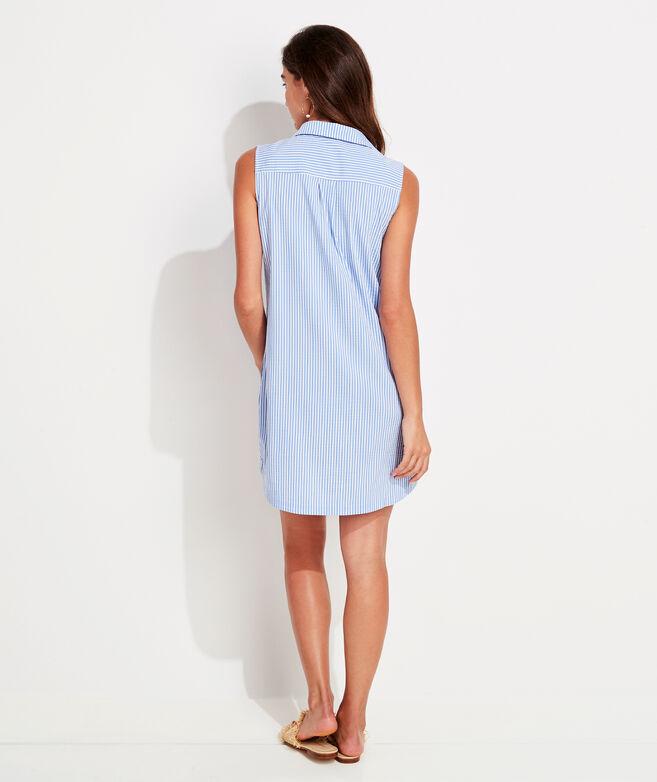 Vineyard Seersucker Sleeveless Margo Shirt Dress