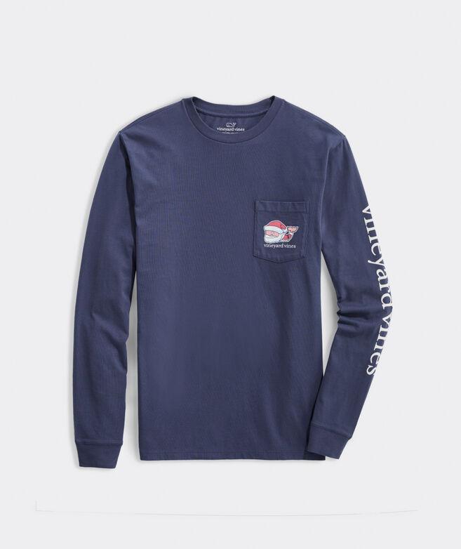 2020 Classic Santa Whale Long-Sleeve Pocket Tee