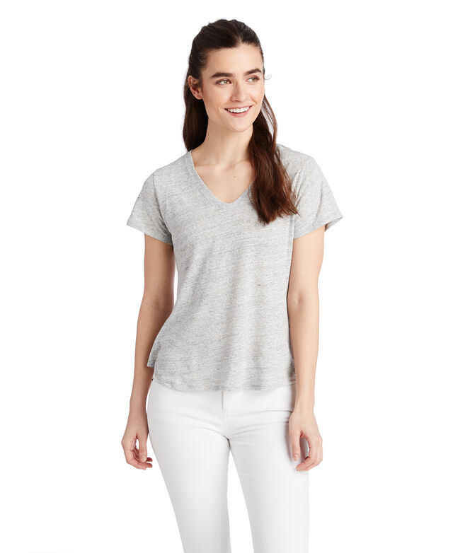 Heathered Linen Blend V-Neck Tee