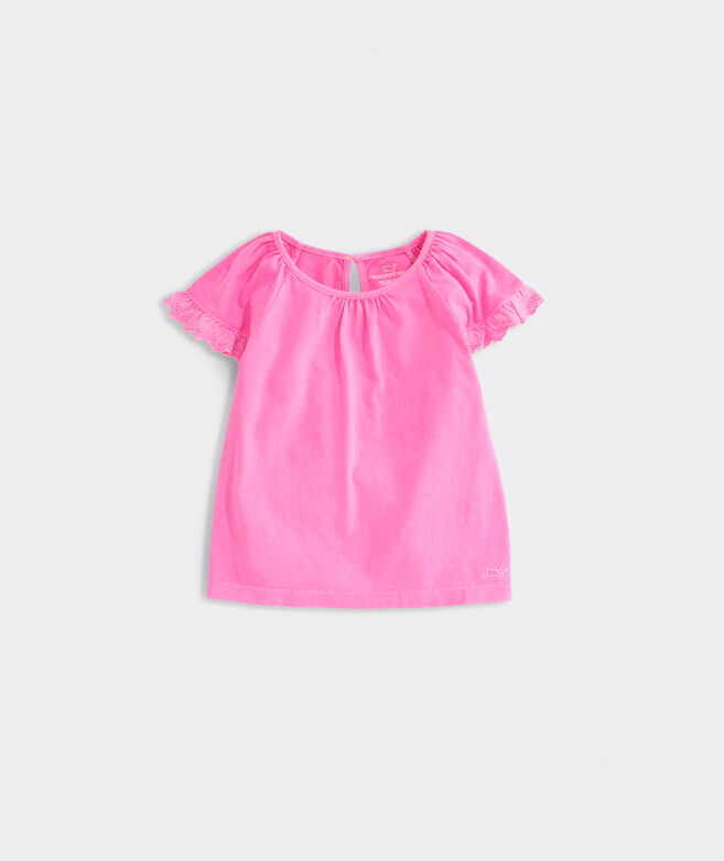 Girls' Eyelet Trimmed Flutter-Sleeve Knit Top