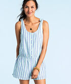Hope Bay Stripe Button Front Romper